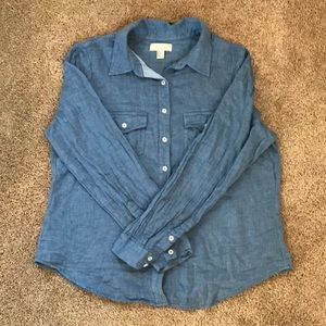 Linen Denim Button Down Top from F21+, Size XL
